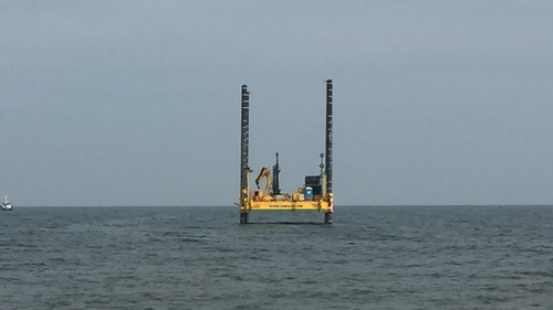 A rig anchored off Redbarn beach will be used to chart the seabed