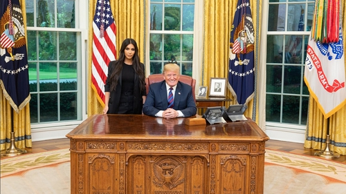US President Donald Trump and Kim Kardashian West in the Oval Office on Wednesday Photo: President Trump, Twitter