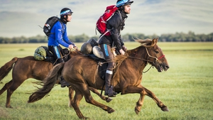 The two Irish riders, Donie Fahy and Richard Killoran in deepest Mongolia