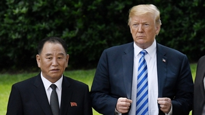 Donald Trump and North Korean official Kim Yong Chol following talks at the White House