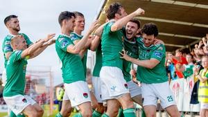 Garry Buckley celebrates scoring his side's opening goal