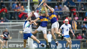 Philip Mahony (L), Noel McGrath (C) and Ronan Maher compete for the ball in he 2016 Munster final