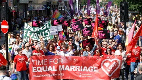 Up to 5,000 activists marched through Belfast to demand an end to the ban on same-sex marriage