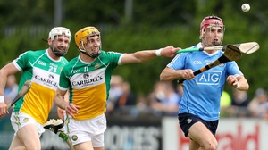 Dublin's Danny Sutcliffe with Colin Egan and Dermott Short of Offaly