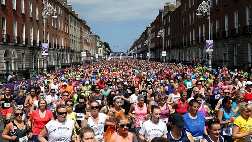 Participants on Fitzwilliam Place in Dublin this afternoon