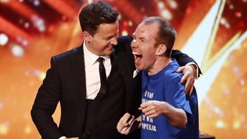 Lee Ridley is congratulated by BGT host Declan Donnelly after his win Photo credit: ITV/Britain's Got Talent