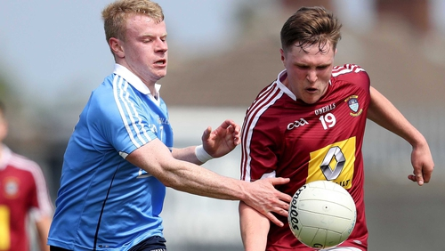 Eoin O'Dea and Conor Dillon in action in Parnell Park