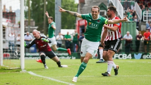 Karl Sheppard celebrates scoring an early goal in Cork City's win over Derry City in Turner's Cross