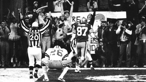Dwight Clark (No 87) celebrates his famous catch in 1981