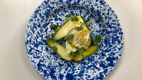 Macroom Buffalo Mozzarella with Courgette, Candied Lemon and Marjoram
