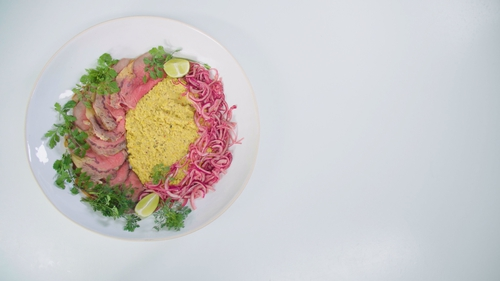 Roast Sirloin of Beef with Creamed Corn and Pickled Red Onions