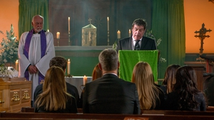Johnny Connor delivers an emotional eulogy for Aidan on Coronation Street