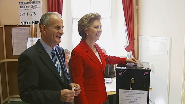 Mary McAleese casts vote in Lisbon Treaty Referendum (2008)