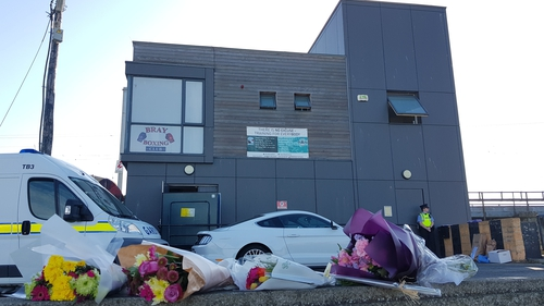Tributes were left outside Bray Boxing Club following the shooting