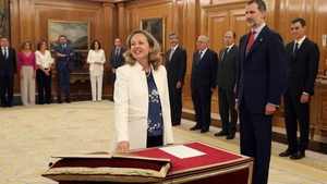 Spanish minister for economic affairs Nadia Calvino takes an oath of office in the presence of Spain's King Felipe VI