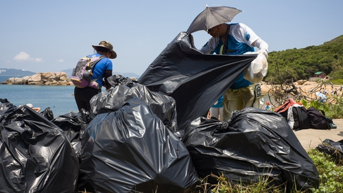 A beach clean-up on Hong Kong's outlying Lamma island last month
