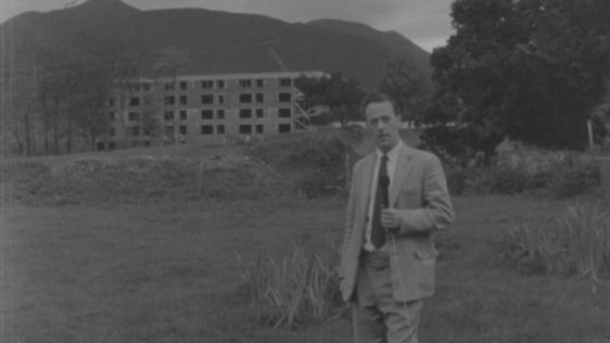 RTÉ reporter John Ross at the Dunloe Hotel, Kerry (1963)