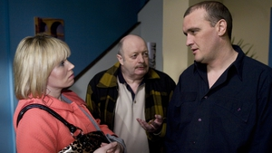 Alan O'Neill as Keith McGrath in Fair City with Mick Nolan (Ray O'Connell) and Sandra Curran (Una Norris) in 2009