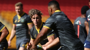Australian captain Michael Hooper in action during the captain's run on Friday