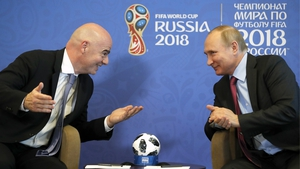 Fifa President Gianni Infantino with Russian leader Vladimir Putin