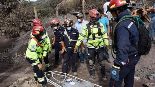 Rescue teams were among those evacuated due to the latest lava flows from the Fuego volcano