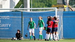 Norway players celebrate the opening goal at Tallaght Stadium