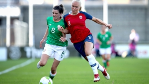 Ireland's Leanne Kiernan is challenged by Maria Thorisdottir of Norway