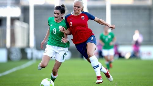 Ireland's Leanne Kiernan is challenged by Maria Thorisdottir of Norway