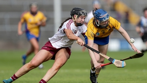 Galway's Rebecca Hennelly and Clare Hehir of Clare battle for possession