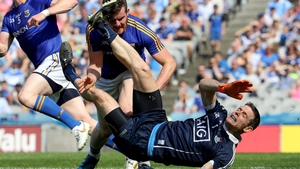 James McGivney was red carded for this challenge on Dublin goalkeeper Stephen Cluxton