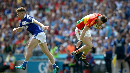 Stephen Attride (L) in action for Laois against Carlow