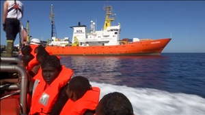 The migrants were taken aboard the Aquarius in the Mediterranean Sea