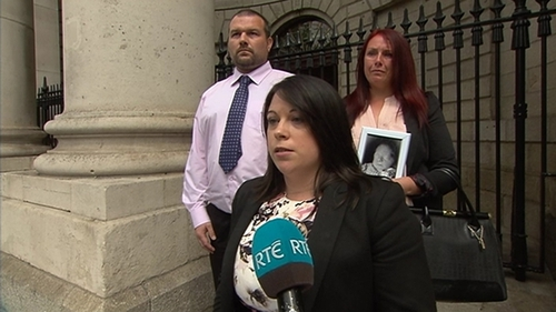 Maria Leslie and Thomas O'Rourke with their solicitor Kathrina Bray outside court