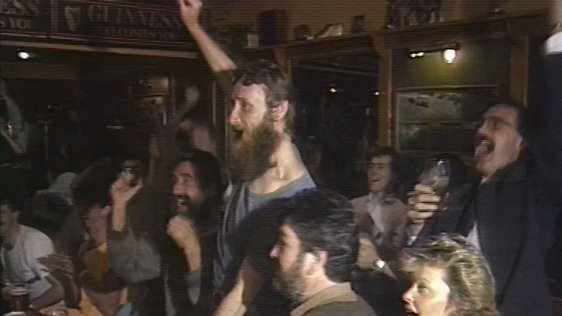 Irish fans celebrate Russia draw (1988)