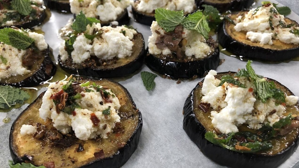 Roasted Aubergine with Ricotta, Honey, Mint, Fennel and Chilli