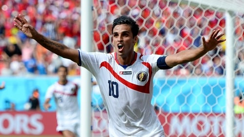 Costa Rica's Bryan Ruiz celebrates scoring his side's winner against Italy in the 2014 World Cup