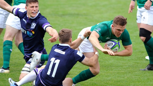 Ireland's Michael Silvester carries the ball
