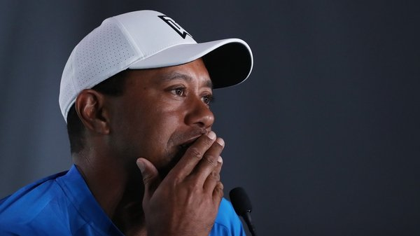Woods speaking to the media in the build-up to the US Open
