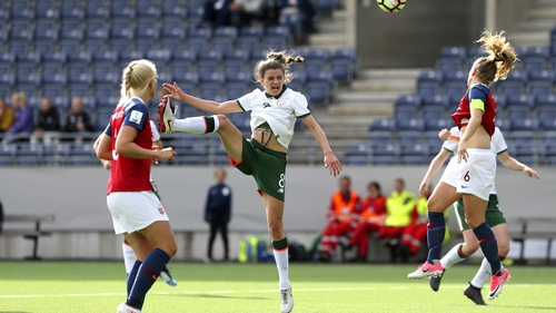 Leanne Kiernan gets her header away