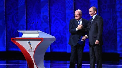 Blatter and Putin together at the 2015 World Cup draw