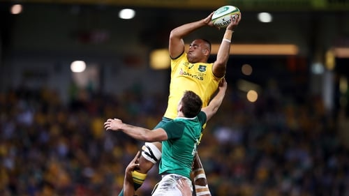Caleb Timu catches a lineout during the first test against Ireland