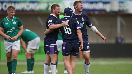 Scottish players celebrate their victory over Ireland in the World Rugby U20 Championship
