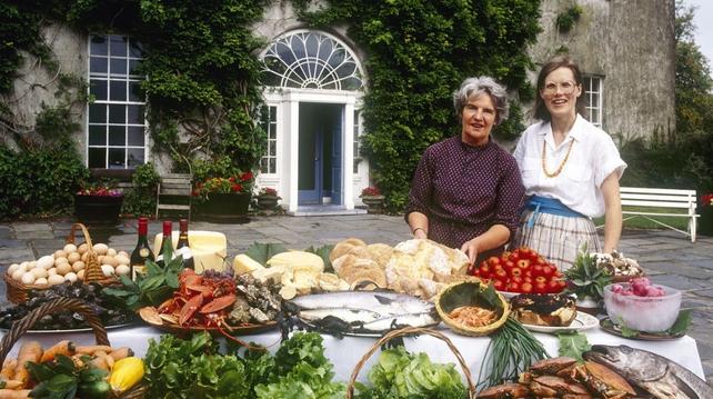 Myrtle and Darina Allen outside Ballymaloe House, circa 1980