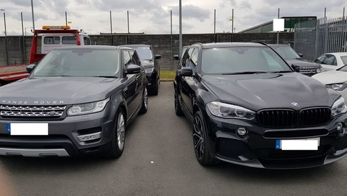 The vehicles include eight high-value Range Rovers and two BMW X5s