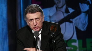 DJ Fontana speaks onstage during the 24th Annual Rock and Roll Hall of Fame Induction Ceremony in April, 2009 in Cleveland, Ohio