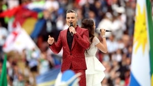 Robbie Williams performing at the World Cup opening ceremony in Russia