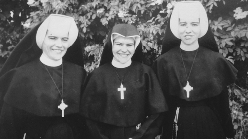 Sister Jo (left), and Sister Gabrielle (right), with their youngest sister Ann (center), who later left religious life. Photo courtesy of the Murray family