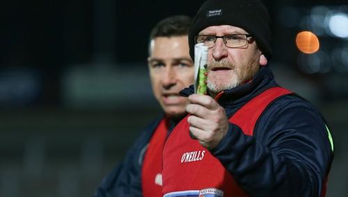 Armagh U20 boss Peter McDonnell (R)