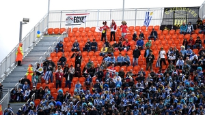 Empty seats are seen in the stands at Ekaterinburg Arena
