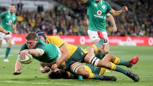 Tadhg Furlong scored Ireland's second try in their 26-21 win over Australia in Melbourne